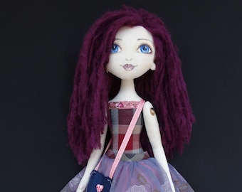 Purple hair doll, rag doll, fabric doll, Textile doll, hand painted face doll, handmade doll, Soft doll READY to SHIP