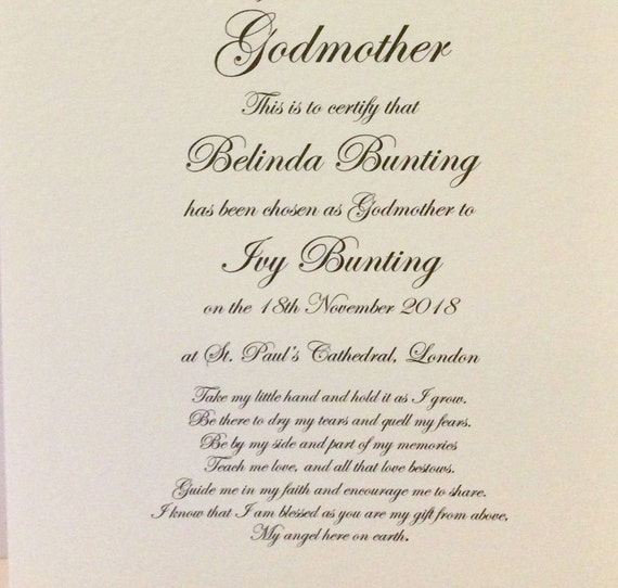 Jemima Puddle-Duck CHRISTENING CERTIFICATE Godfather//Godparents Godmother