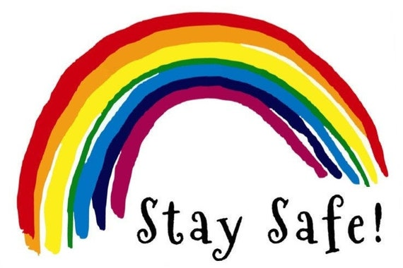 STAY SAFE clear RAINBOW decal for windows Car Sticker free | Etsy