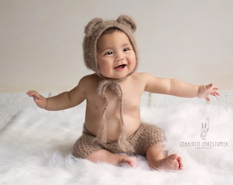 Match from 11 colors and sizes Crochet Baby Teddy Bear Bonnet and Pants- Newborn  Photography Props- Baby Crochet Hat 3d5bcdf741ae
