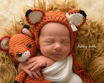 5d66e5d07e1 Handmade Crochet Fox Stuffy   Newborn Bonnet Set   Photo Prop Amigurumi  Stuffy Fox Toy Vintage Style   Perfect Baby Shower Gift   under 50