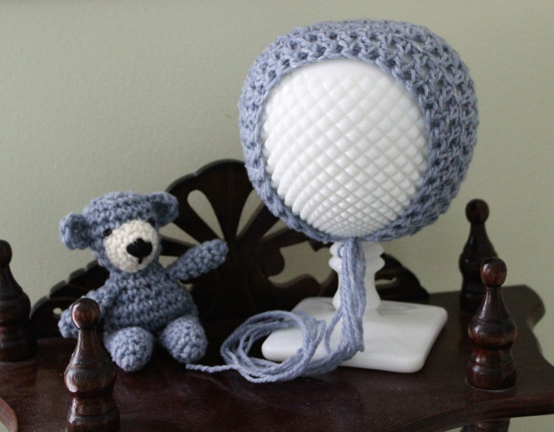Baby Girl Shower Gift Crochet Animal and Hat RTS Blue Teddy Bear and Bonnet Set Ready to Ship Photo Prop Gender Neutral Stuffed Animal