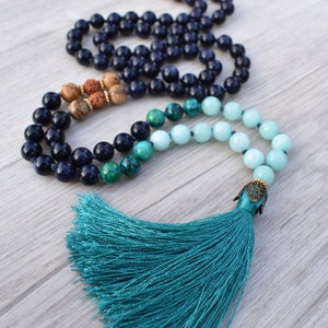 Hand Knotted Mala Necklace Yoga Necklace Tassel Necklace Oasis ~ Picture Jasper /& Chrysocolla ~ 108 Bead Chakra Jewelry