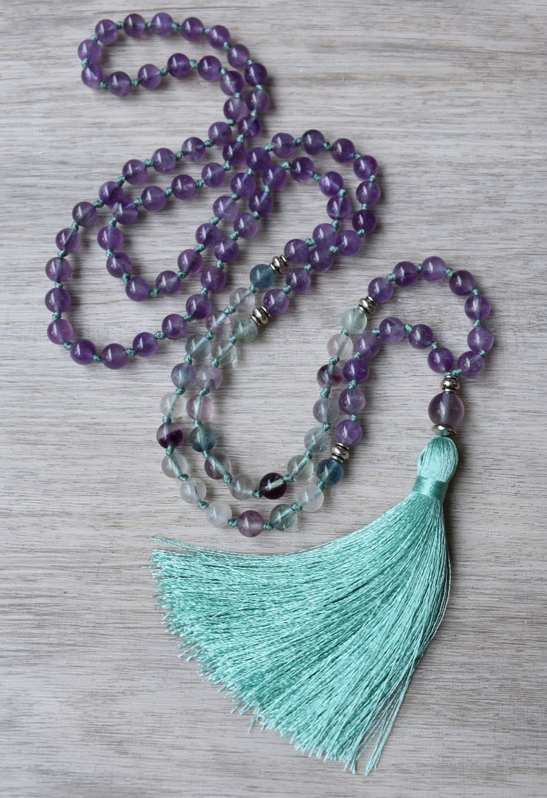 Mala necklace 108 Fluorite gemstone and Cedar wood knotted with turquoise /& purple tassel Meditation necklace for women.