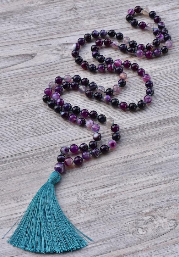 8mm 108 Beads Amethyst Garnet Hand Knotted Tassel Necklaces Bracelet Set