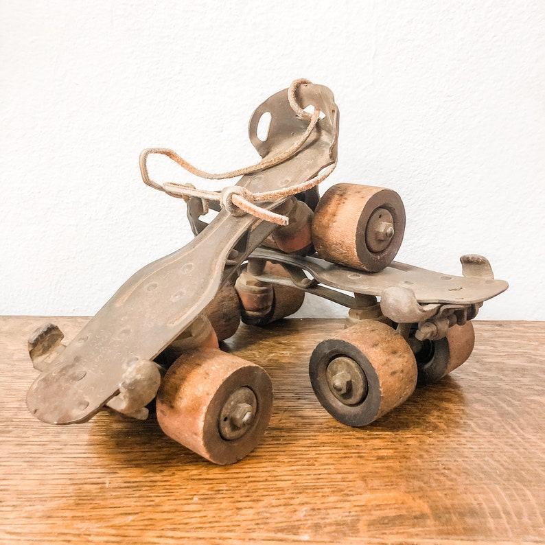 Metal Roller Skates with Wood Wheels
