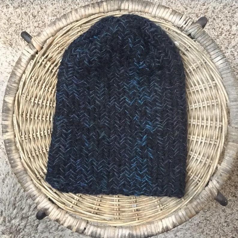 629bbb959 Beanie hat thick knit herringbone toque skullcap men woman adult unisex  slouchy winter accessory vegan acrylic black blue hat ombre