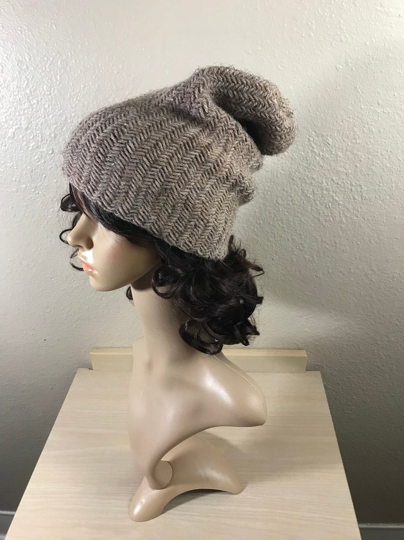 483dfa460 Slouch Hat Knit Wool Acrylic Men Woman Adult Brim Hat Thick