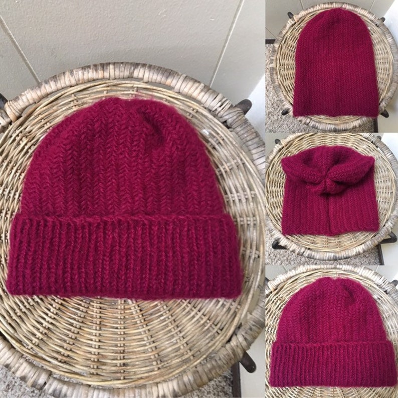 f1741a10d3a64c Beanie hat adult woman man knit slouchy beanie herringbone   Etsy