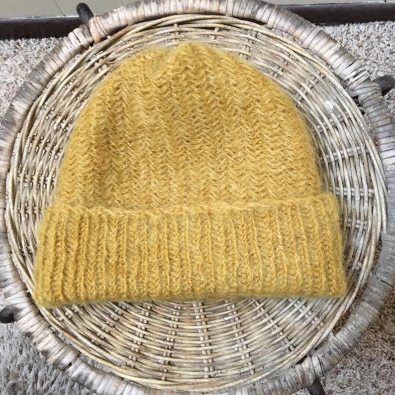 54b725c45d1481 Beanie hat adult mohair mustard yellow knit skullcap toque   Etsy