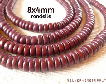 Full 16 inch Strand 8mm x 4mm Wood Rondelle Beads Dark Cherry Brown