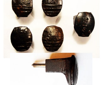 Free Shipping 5 Easy Screw Railroad Spike Knobs Door Pulls Cupboard Set Handmade Vintage Antique Rustic Re-purposed Old House Restoration