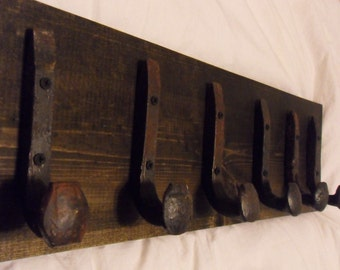 "Free Shipping 6 Antique Hook Old Railroad Spike Art ""Black Ebony"" Vintage Coat Hat Rack Strong Shelf Shop Set Hand Made Hammered Blacksmith"