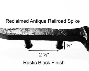 "2 1/2"" Right  Black Railroad Spike Cupboard Handle Dresser Drawer Pull Cabinet Knob Antique Vintage Old Rustic Re-purposed House Restoration"