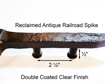 "2 1/4"" Left Sealed Railroad Spike Cupboard Handle Dresser Drawer Pull Cabinet Knob Antique Vintage Old Rustic Re-purposed House Restoration"