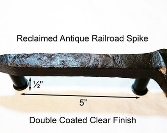 "5"" Right Sealed Railroad Spike Cupboard Handle Dresser Drawer Pull Cabinet Knob Antique Vintage Old Rustic Re-purposed House Restoration"