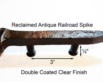 "3"" Left Sealed Railroad Spike Cupboard Handle Dresser Drawer Pull Cabinet Knob Antique Vintage Old Rustic Re-purposed House Restoration"