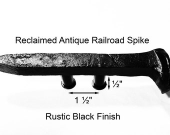 "1 1/2"" Right Black Railroad Spike Cupboard Handle Dresser Drawer Pull Cabinet Knob Antique Vintage Old Rustic Re-purposed House Restoration"