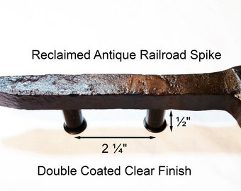 "2 1/4"" Right Sealed Railroad Spike Cupboard Handle Dresser Drawer Pull Cabinet Knob Antique Vintage Old Rustic Re-purposed House Restoration"