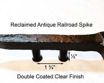 "1 3/4"" Right Sealed Railroad Spike Cupboard Handle Dresser Drawer Pull Cabinet Knob Antique Vintage Old Rustic Re-purposed House Restoration"