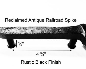 "4 3/4"" RIght Black Railroad Spike Cupboard Handle Dresser Drawer Pull Cabinet Knob Antique Vintage Old Rustic Re-purposed House Restoration"