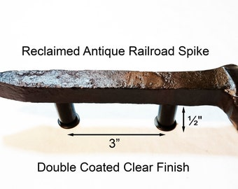 "3"" Right Sealed Railroad Spike Cupboard Handle Dresser Drawer Pull Cabinet Knob Antique Vintage Old Rustic Re-purposed House Restoration"