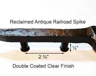 "2 3/4"" Right Sealed Railroad Spike Cupboard Handle Dresser Drawer Pull Cabinet Knob Antique Vintage Old Rustic Re-purposed House Restoration"