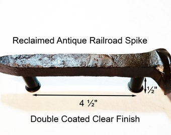 "4 1/2"" Right Sealed Railroad Spike Cupboard Handle Dresser Drawer Pull Cabinet Knob Antique Vintage Old Rustic Re-purposed House Restoration"