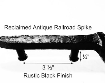 "3 1/2"" Right Black Railroad Spike Cupboard Handle Dresser Drawer Pull Cabinet Knob Antique Vintage Old Rustic Re-purposed House Restoration"
