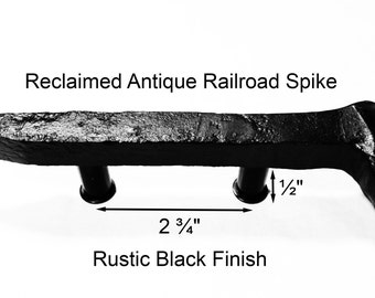 "2 3/4"" Right Black Railroad Spike Cupboard Handle Dresser Drawer Pull Cabinet Knob Antique Vintage Old Rustic Re-purposed House Restoration"