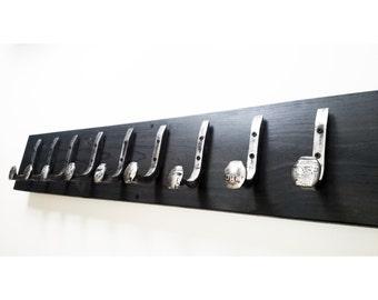 "Free Shipping 9 Brushed Steel Hooks Railroad Spike ""Black Ebony"" Vintage Antique Coat Hat Rack Strong Shop Set Hand Made Hammered Blacksmith"