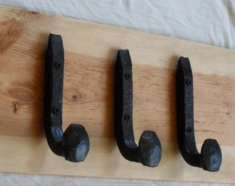Free Shipping 3 Antique Wall Hooks Old Railroad Spikes Wrought Iron Strong Shop Set Hand Made Hammered Blacksmith- Make Vintage Coat Racks