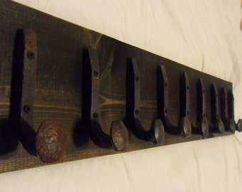"Free Shipping 9 Antique Hook Old Railroad Spike Art ""Black Ebony"" Vintage Style Coat Hat Rack Strong Shop Shelf Handmade Hammered Blacksmith"