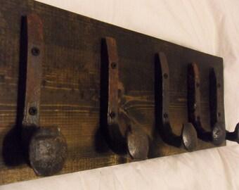 """Free Shipping 5 Antique Hook Old Railroad Spike Art """"Black Ebony"""" Vintage Coat Hat Rack Strong Shop Shelf Set Hand Made Hammered Blacksmith"""