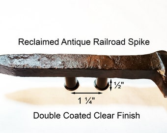 "1 1/4"" Right Sealed Railroad Spike Cupboard Handle Dresser Drawer Pull Cabinet Knob Antique Vintage Old Rustic Re-purposed House Restoration"