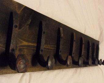 "Free Shipping 8 Antique Hook Old Railroad Spike Art ""Black Ebony"" Vintage Style Coat Hat Rack Strong Shop Shelf Handmade Hammered Blacksmith"