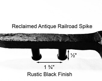 "1 3/4"" Right Black Railroad Spike Cupboard Handle Dresser Drawer Pull Cabinet Knob Antique Vintage Old Rustic Re-purposed House Restoration"
