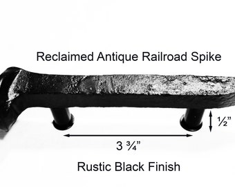 "3 3/4"" Left Black Railroad Spike Cupboard Handle Dresser Drawer Pull Cabinet Knob Antique Vintage Old Rustic Re-purposed House Restoration"