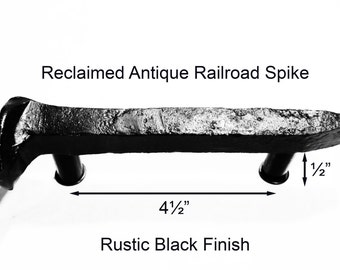 "4 1/2"" Left Black Railroad Spike Cupboard Handle Dresser Drawer Pull Cabinet Knob Antique Vintage Old Rustic Re-purposed House Restoration"