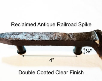 "4"" Right Sealed Railroad Spike Cupboard Handle Dresser Drawer Pull Cabinet Knob Antique Vintage Old Rustic Re-purposed House Restoration"