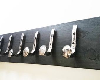 "Free Shipping 6 Brushed Steel Hooks Railroad Spike ""Black Ebony"" Vintage Antique Coat Hat Rack Strong Shop Set Hand Made Hammered Blacksmith"