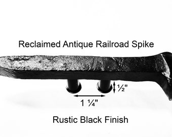 "1 1/4"" Right Black Railroad Spike Cupboard Handle Dresser Drawer Pull Cabinet Knob Antique Vintage Old Rustic Re-purposed House Restoration"