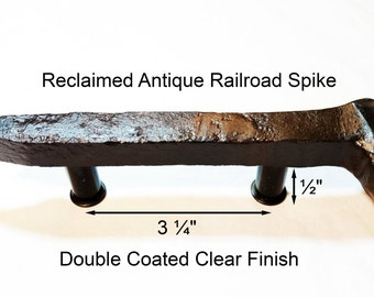 """3 1/4"""" Right Sealed Railroad Spike Cupboard Handle Dresser Drawer Pull Cabinet Knob Antique Vintage Old Rustic Re-purposed House Restoration"""