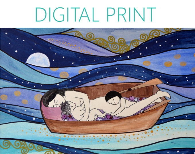 "DIGITAL ""Sweet Dreams"" print/poster /Birth Art/ cosleeping/ motherhood / gift for new mom"