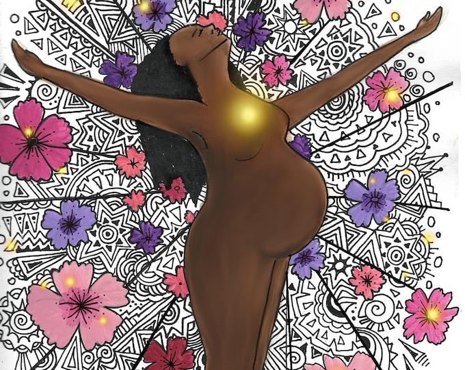 """DIGITAL """"Rise"""" print/poster /feminist art/ Pregnancy Art/ midwife/ doula/ gift for new mom"""