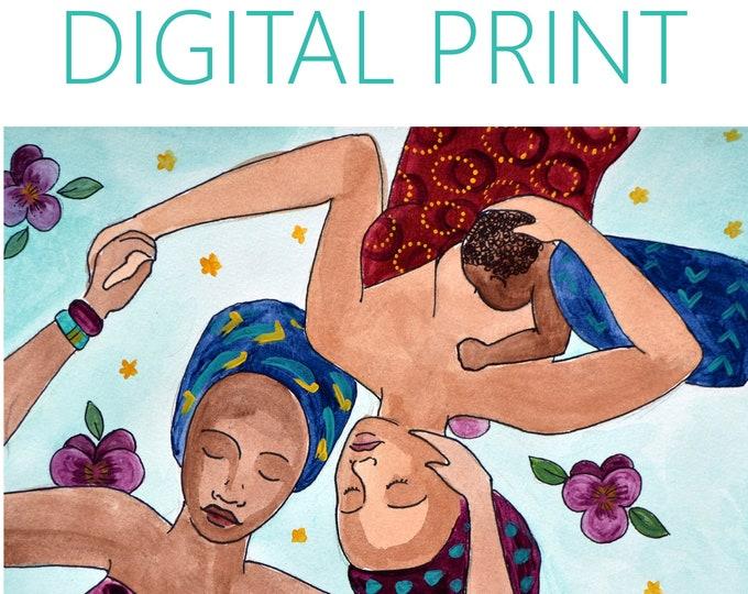 "DIGITAL ""Comfort"" print/poster /breastfeeding art/ doula/ gift for new mom"
