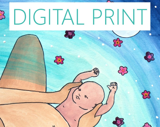 "DIGITAL ""From the Water"" print/poster /Birth Art/ Water Birth/ Pregnancy Art/ midwife/ doula/ gift for new mom"