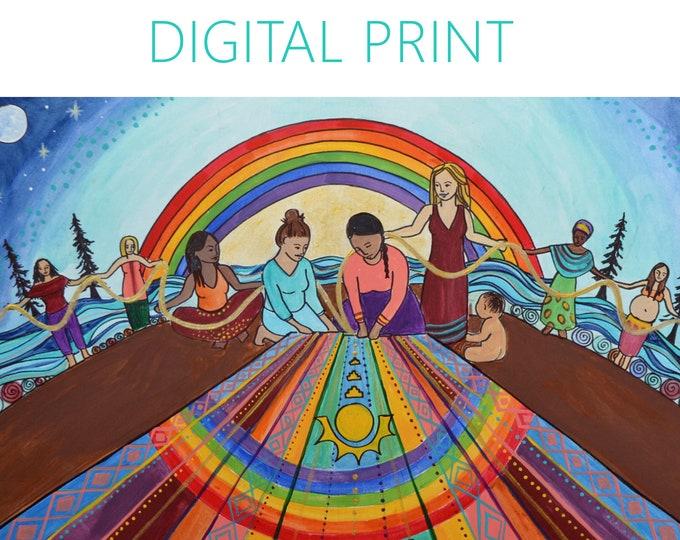 "DIGITAL ""Weavers"" print/poster /feminist art/ pride/ rainbow/ multicultural"