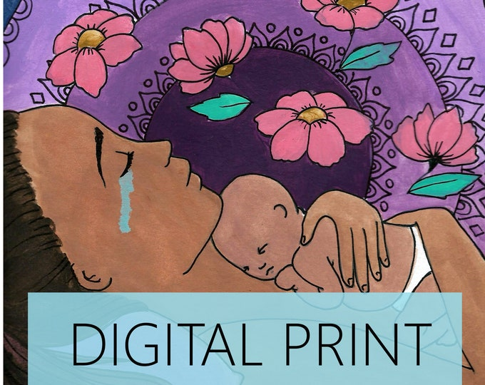 "DIGITAL ""New Together"" print/poster /Birth Art/ Pregnancy Art/ midwife/ doula/ gift for new mom"