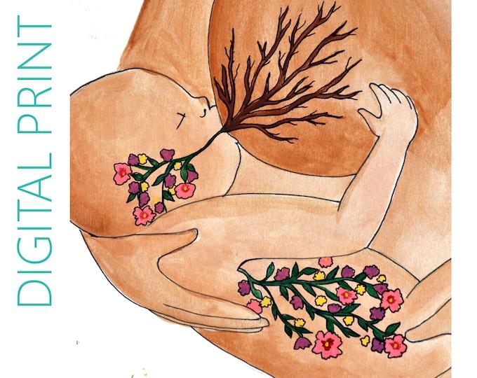 "DIGITAL ""Life"" print/poster /breastfeeding art/ doula/ gift for new mom"